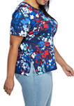Plus Size Short Sleeve Abstract Floral Top