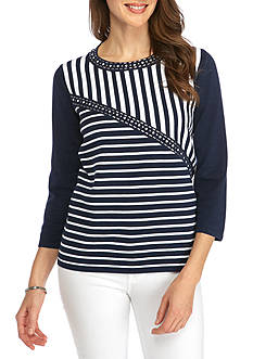 Alfred Dunner Petite Scenic Route Spliced Stripe Sweater