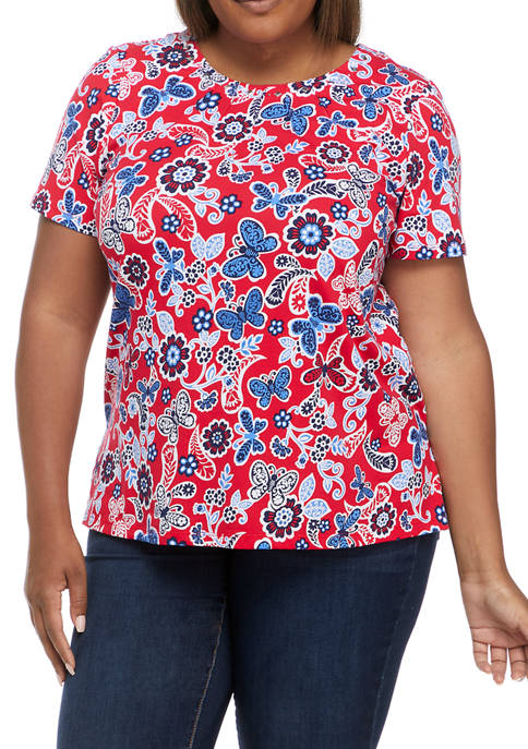 Alfred Dunner Plus Size Americana Butterfly T-Shirt