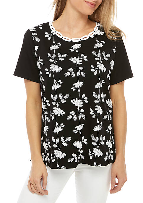 Native New Yorker Vertical Flowers Knit Top