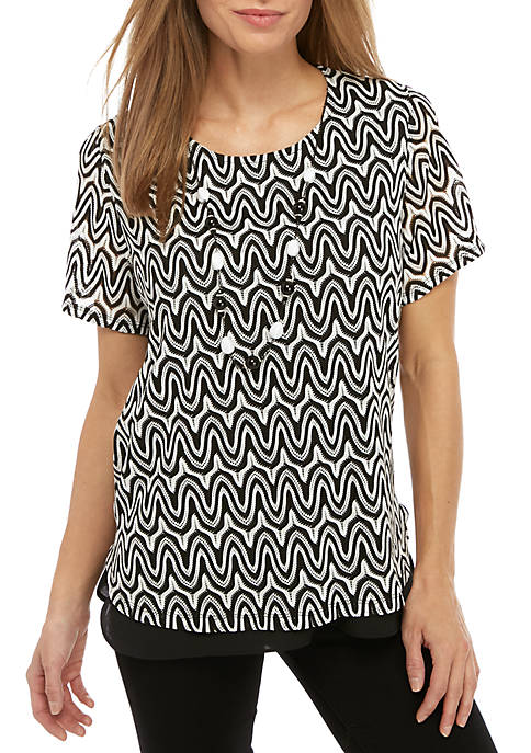 Alfred Dunner Native New Yorker Zigzag Knit Top