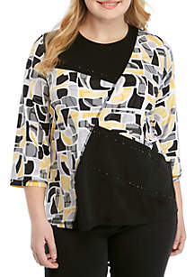 Alfred Dunner Plus Size Native New Yorker Spliced Abstract Knit Top