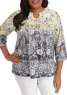 c15fd275620 ... Alfred Dunner Plus Size Medallion Ombre Knit Top