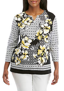 Alfred Dunner Plus Size Geo Border Print Knit Top