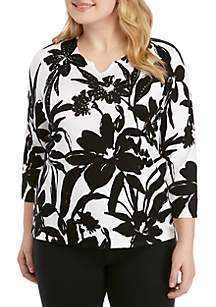 Alfred Dunner Plus Size Native New Yorker Monotone Floral Sweater