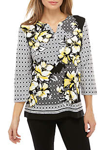 Alfred Dunner Petite Native New Yorker Geometric Knit Top