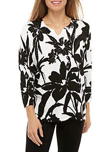 Alfred Dunner Petite Native New Yorker Monotone Floral Sweater