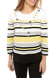 Alfred Dunner Petite Native New Yorker Stripe Top with Faux Necklace