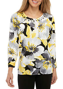 Alfred Dunner Petite Native New Yorker Exploded Floral Sweater