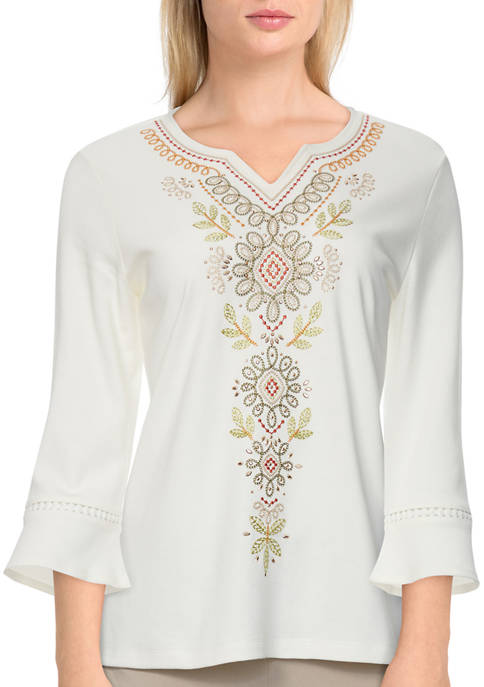 Alfred Dunner Womens 3/4 Bell Sleeve Center Embroidery