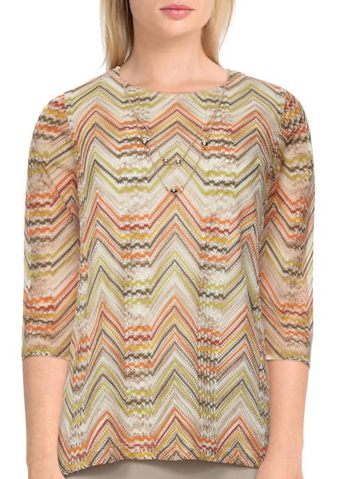 Alfred Dunner Womens 3/4 Sleeve Chevron Texture Top