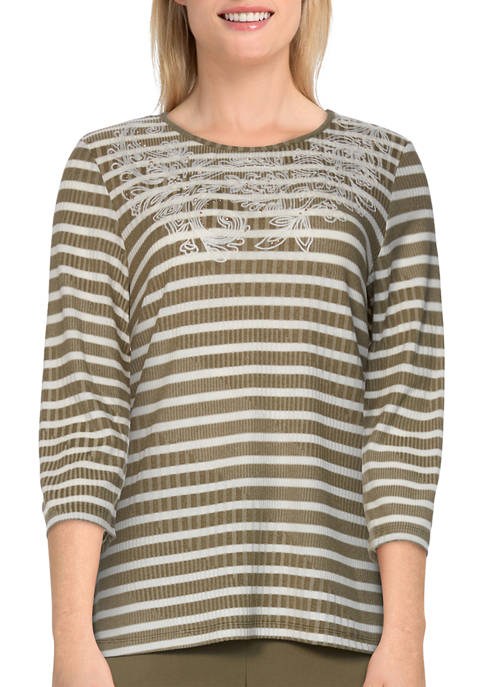 Alfred Dunner Womens 3/4 Sleeve Ribbed Stripe Top