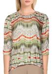 Womens Short Sleeve Ikat Biadere Print Knit Top