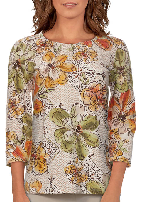 Alfred Dunner Womens 3/4 Sleeve Floral Print Top