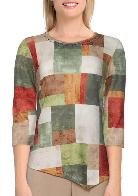 Alfred Dunner Womens 3/4 Sleeve Watercolor Boxes Top