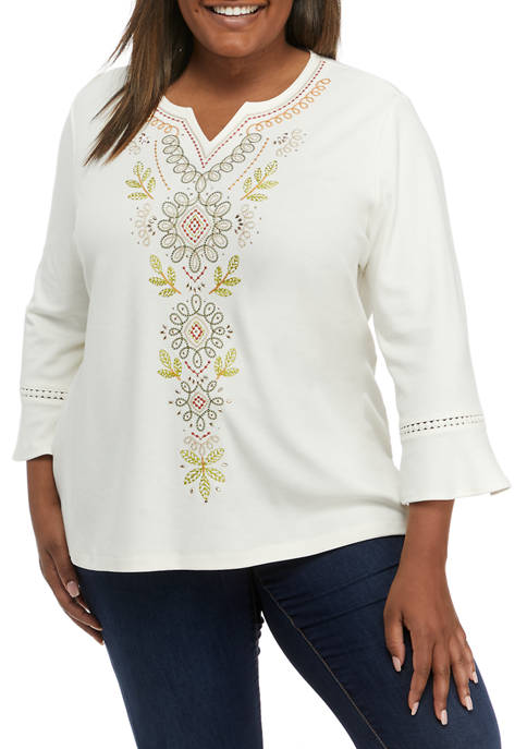 Plus Size San Antonio Embroidered Bell Sleeve Top