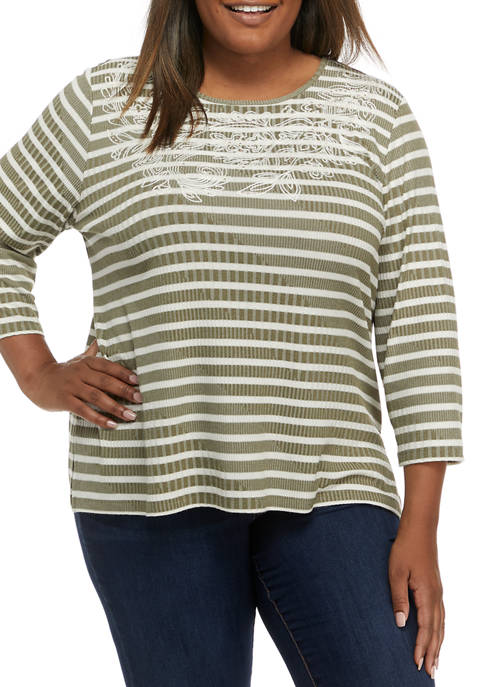 Alfred Dunner Plus Size San Antonio Casual Ribbed