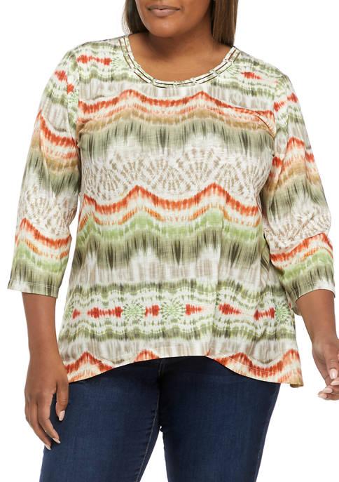 Plus Size San Antonio Casual Colorful Striped Top