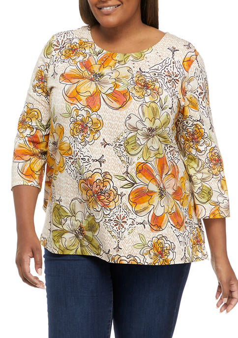 Plus Size San Antonio 3/4 Sleeve Textured Floral Top