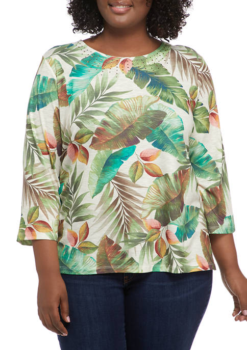 Alfred Dunner Plus Size 3/4 Sleeve Tropical Leaves