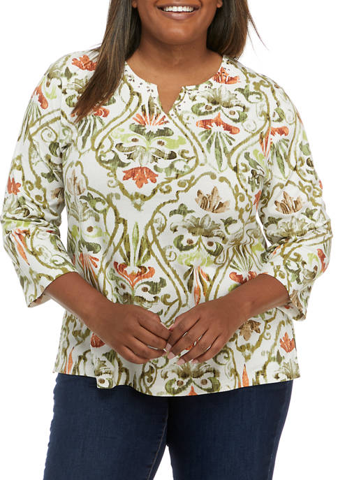 Alfred Dunner Plus Size San Antonio Casual Medallion