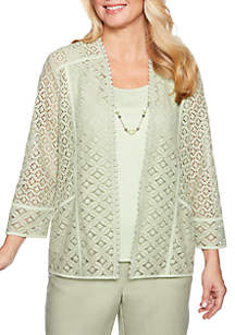 Alfred Dunner South Hampton Solid Lace 2Fer Top