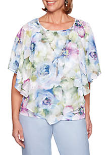 Alfred Dunner South Hampton Watercolor Floral 2Fer Blouse