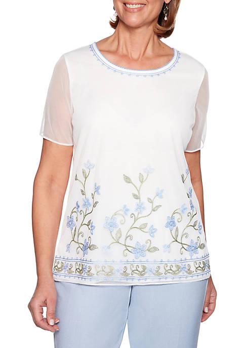 South Hampton Floral Border Knit Top