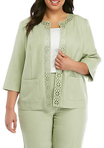 135497aee69f9 ... Alfred Dunner Plus Size South Hampton Laser Cut Jacket