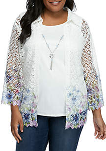 ff6015f8ad6 ... Alfred Dunner Plus Size South Hampton Lace Floral 2Fer Top