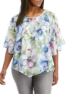 Alfred Dunner Plus Size South Hampton 2Fer Watercolor Floral Top
