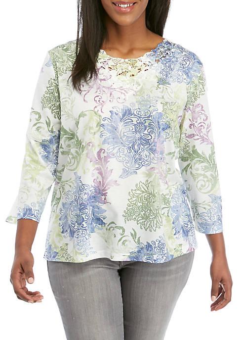 Plus Size South Hampton Scroll Print Lace Knit Top
