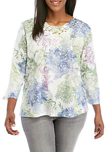 71d2417f33d942 ... Alfred Dunner Plus Size South Hampton Scroll Print Lace Knit Top