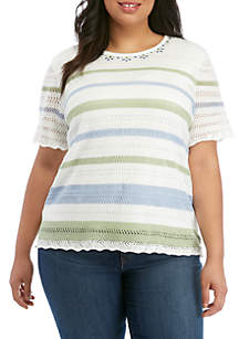 2e2c815a133e6 ... Alfred Dunner Plus Size Pointelle Stripe Sweater
