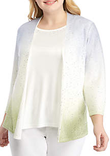 8aa93a4a55a6 ... Alfred Dunner Plus Size Ombre Sequin 2Fer Sweater