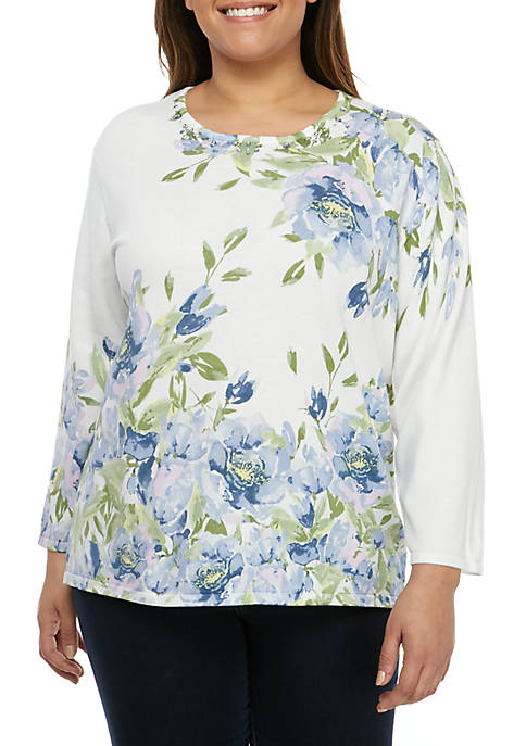 Alfred Dunner Plus Size South Hampton Floral Sweater