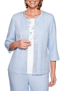 Alfred Dunner Petite South Hampton Laser Cut Jacket