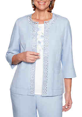 70970f32671 Alfred Dunner Petite South Hampton Laser Cut Jacket ...