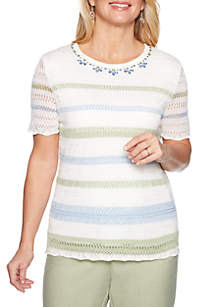 Alfred Dunner Petite South Hampton Pointelle Stripe Sweater