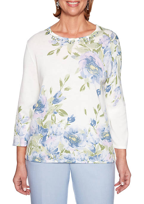 Alfred Dunner Petite South Hampton Asymmetrical Floral Sweater