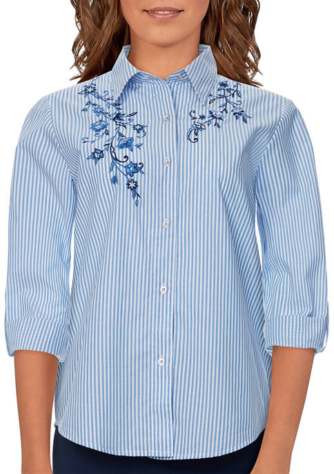 Alfred Dunner Womens Bryce Canyon Button Front Striped