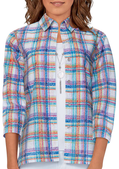 Womens Bryce Canyon Plaid Two For One Top with Necklace