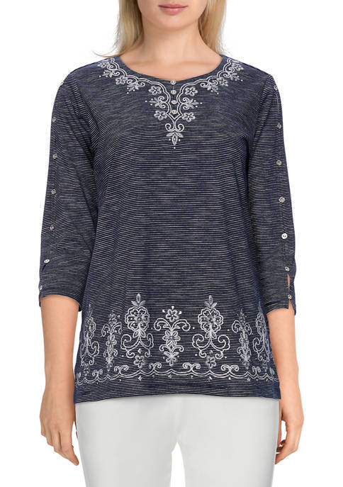 Alfred Dunner Womens Bryce Canyon Textured Embroidered Top
