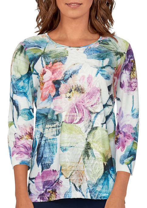 Alfred Dunner Womens Bryce Canyon Floral Center Lace