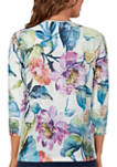 Womens Bryce Canyon Floral Center Lace Crew Neck Top