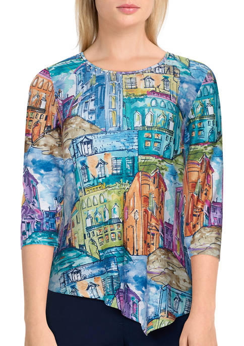 Womens Bryce Canyon Colorful Scenic Knit Asymmetrical Top