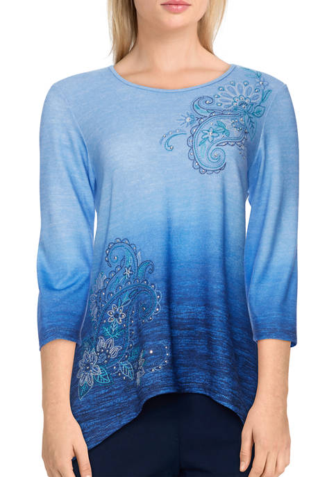 Alfred Dunner Womens Bryce Canyon Ombré Paisley