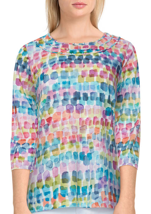 Womens Bryce Canyon Watercolor Brushstroke Crew Neck Top