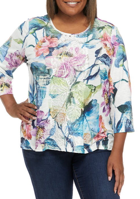 Alfred Dunner Plus Size Bryce Canyon Floral Center
