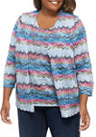 Plus Size Bryce Canyon Casual Textured 2Fer Top With Necklace